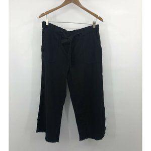 Caslon Linen Blend Fray Hem Cropped Wide Leg Pants